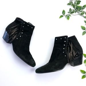 Sam Edelman Studded Fringe Suede Rudie Ankle Boots